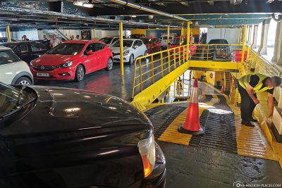 The car deck of the ferry