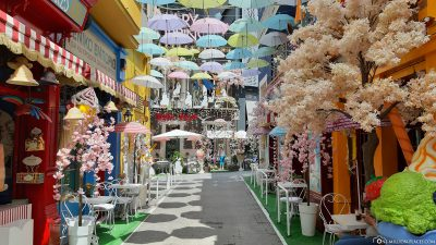 The colourful umbrella alley in Athens