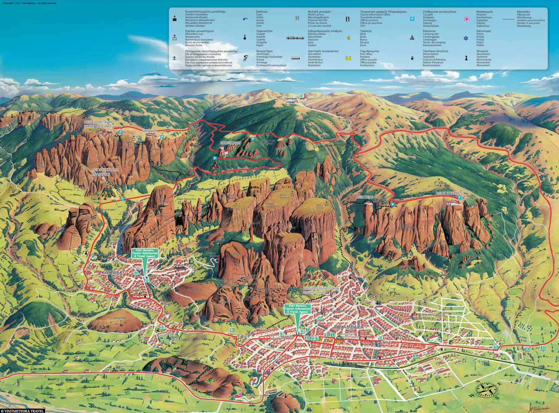 Map, Meteora, Kalambaka, Kastraki, Travelreport, Plan