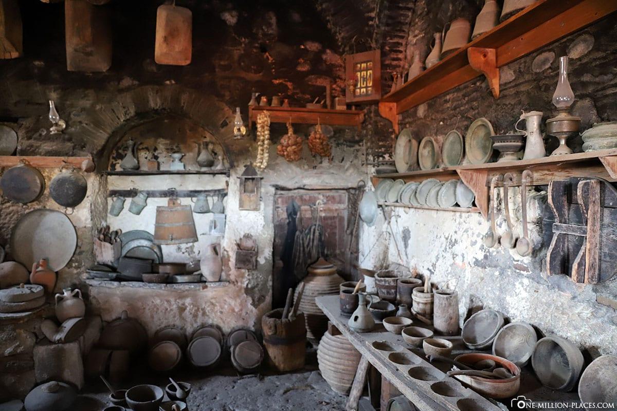 Küche, Kloster Great Meteoro, Megálo Metéoro, Kalambaka, Thessalien, Griechenland, Μετέωρα, UNESCO Weltkulturerbe, Erfahrung, Tipps, Reisebericht