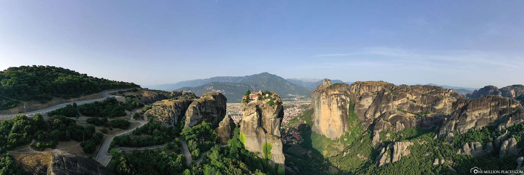 Panoramic view, Holy Trinity Monastery, Meteora, James Bond, Monastery on Rocks, Greece, Travelreport