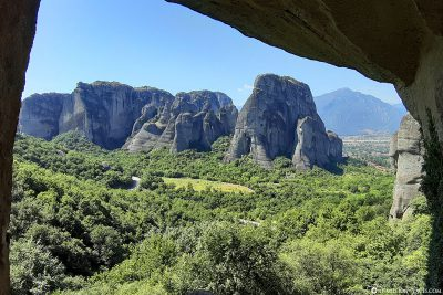 View from the cave to the mountains of Meteora