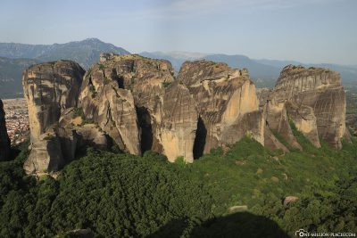View of the rocks of Meteora