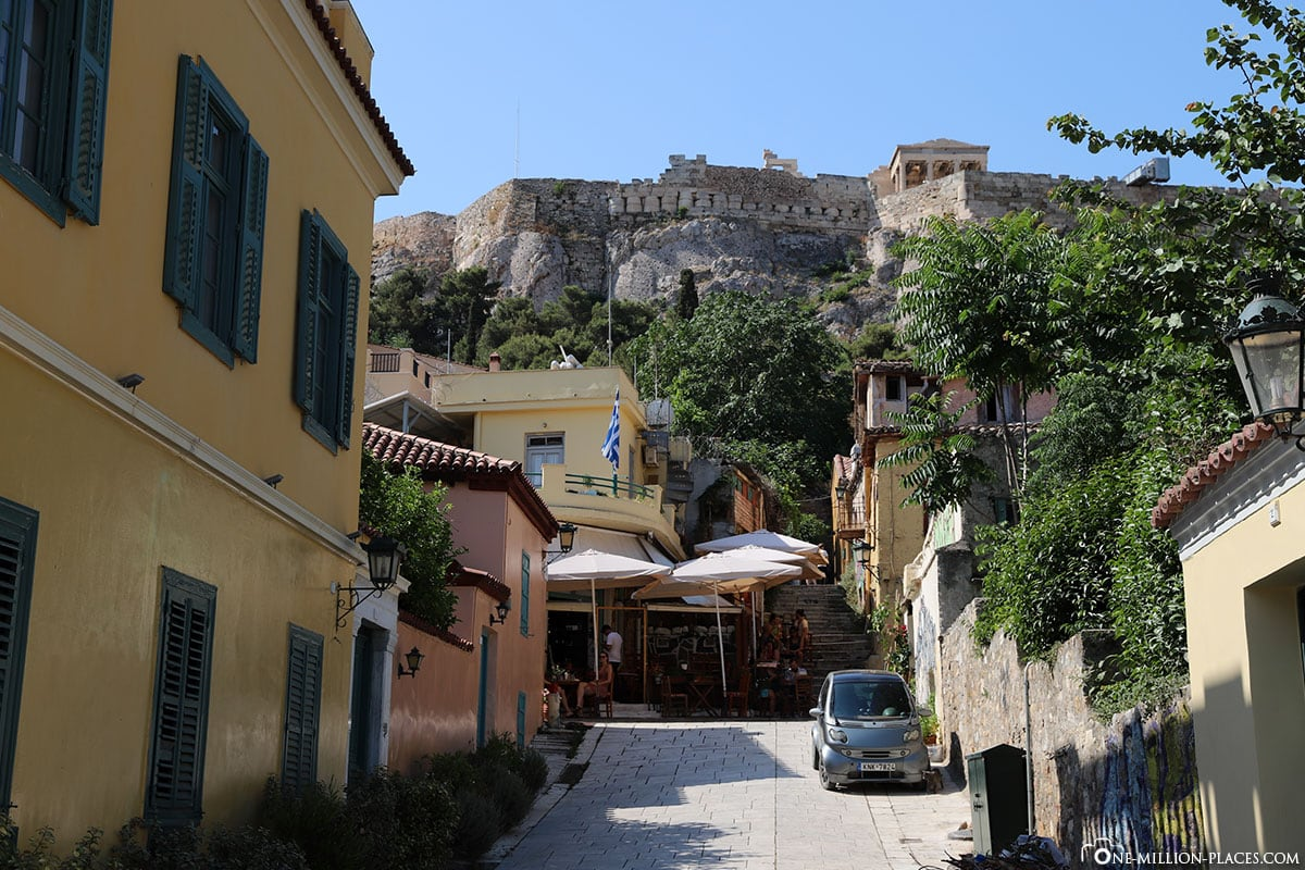 Blick von Plaka auf die Akropolis, Athen, Griechenland, Sehenswürdigkeiten, Auf eigene Faust, Reisebericht, Fotospot