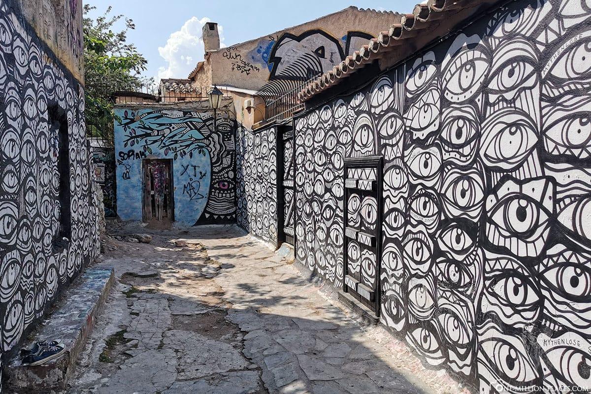Graffiti, Wand, Plaka, Athen, Griechenland, Sehenswürdigkeiten, Auf eigene Faust, Reisebericht, Fotospot
