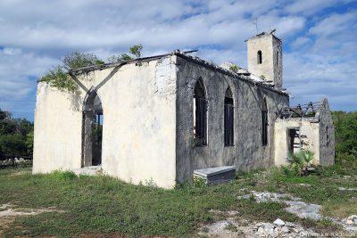 The old Anglican church ruins at Shrimp Hole