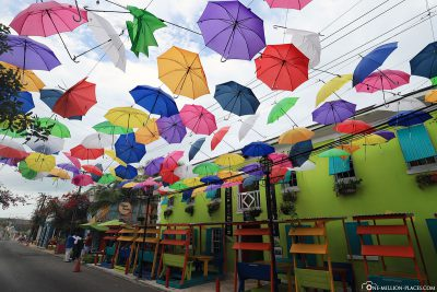 Colorful umbrellas over West Hill Street