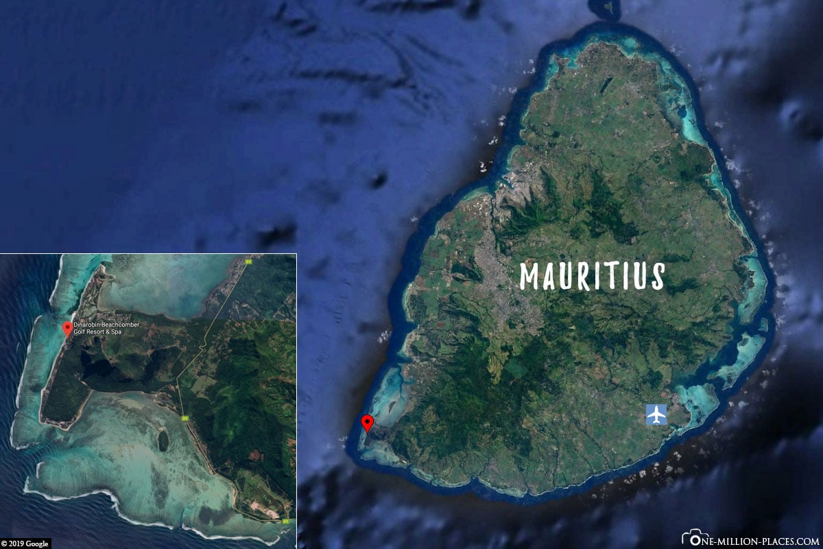 Location, Map, Dinarobin Beachcomber, Mauritius, Google Earth