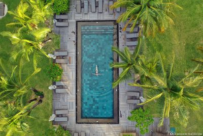 Drone image of the pool