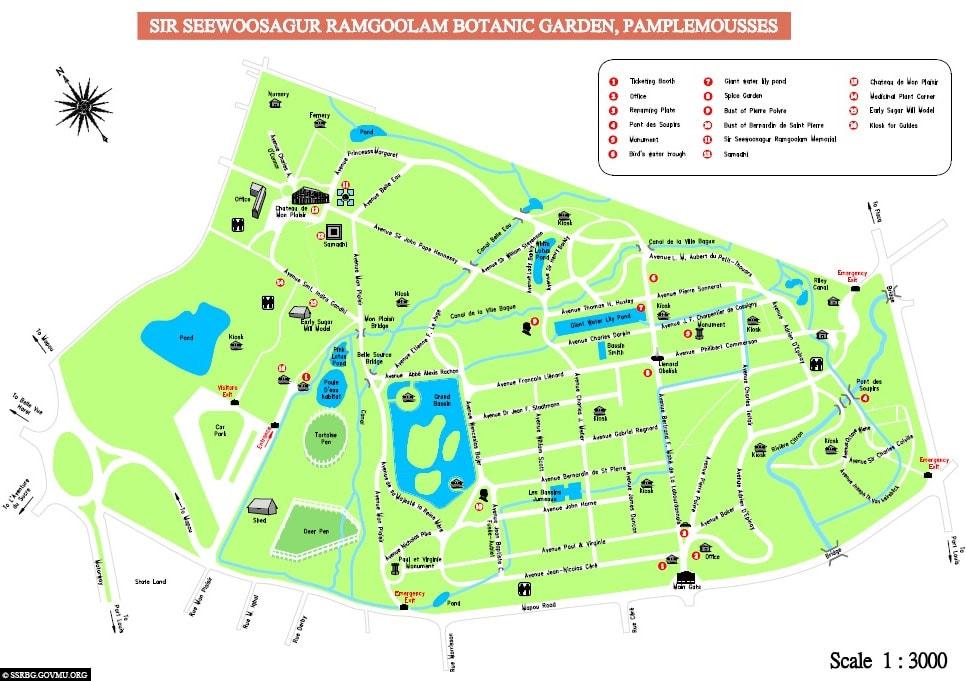 Karte, Map, Lageplan, Botanischer Garten, Mauritius