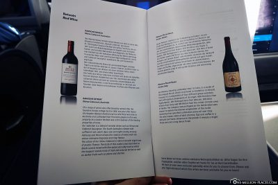 The wine list in Business Class