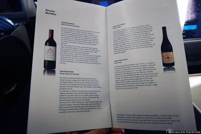 Die Weinkarte in der Business Class