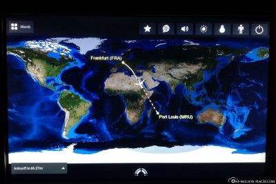 The flight route from Frankfurt to Mauritius