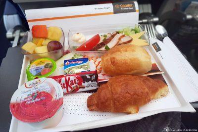 Das Frühstück auf dem Rückflug