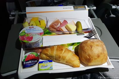 Das Frühstück auf dem Hinflug