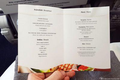 The menu card on the return flight