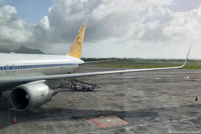 Ankunft auf dem Flughafen von Mauritius