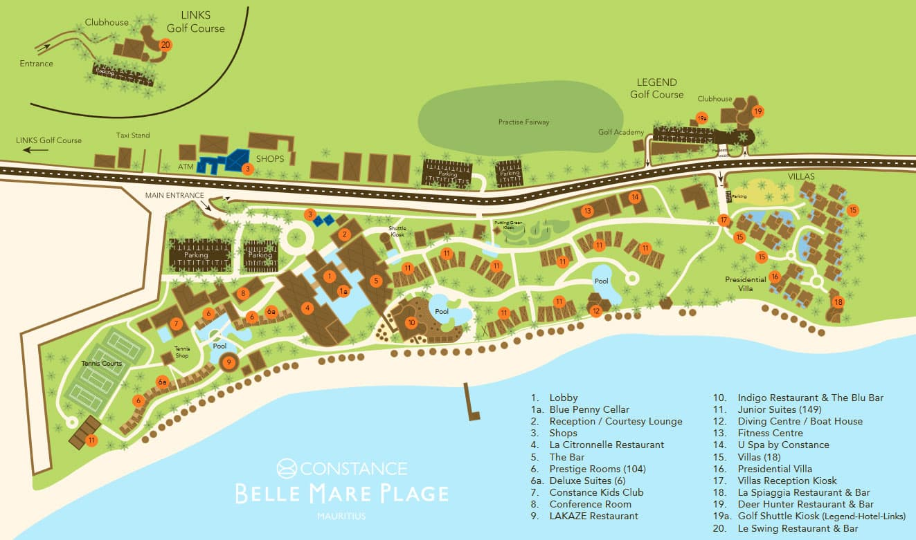 Constance Belle Mare Plage, map, map, overview, Mauritius, travel report, experience
