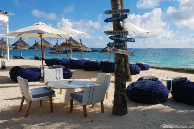 Lounge seats on the beach