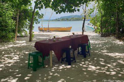 Unser Mittagessen am Strand