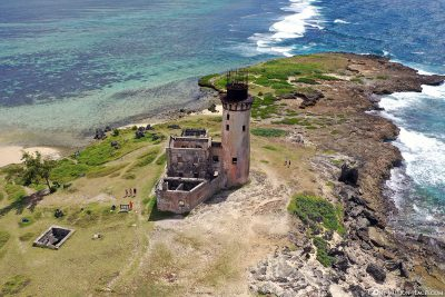 The island of Ile Aux Fouquets with the old lighthouse