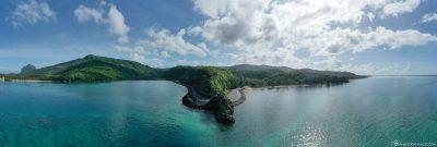 Drohnenbild vom Aussichtspunkt Macondé auf Mauritius