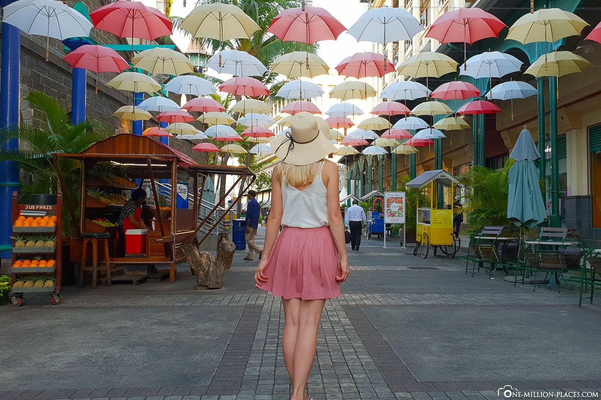 Colorful Umbrellas, Port Louis, Mauritius, Caudan Waterfront, Umbrella Lane, Attractions, Travelreport, Photo Spot