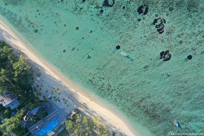 Blick auf den Strand der Le Morne Halbinsel