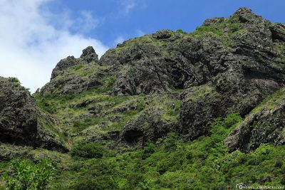 View up to the top of the mountain