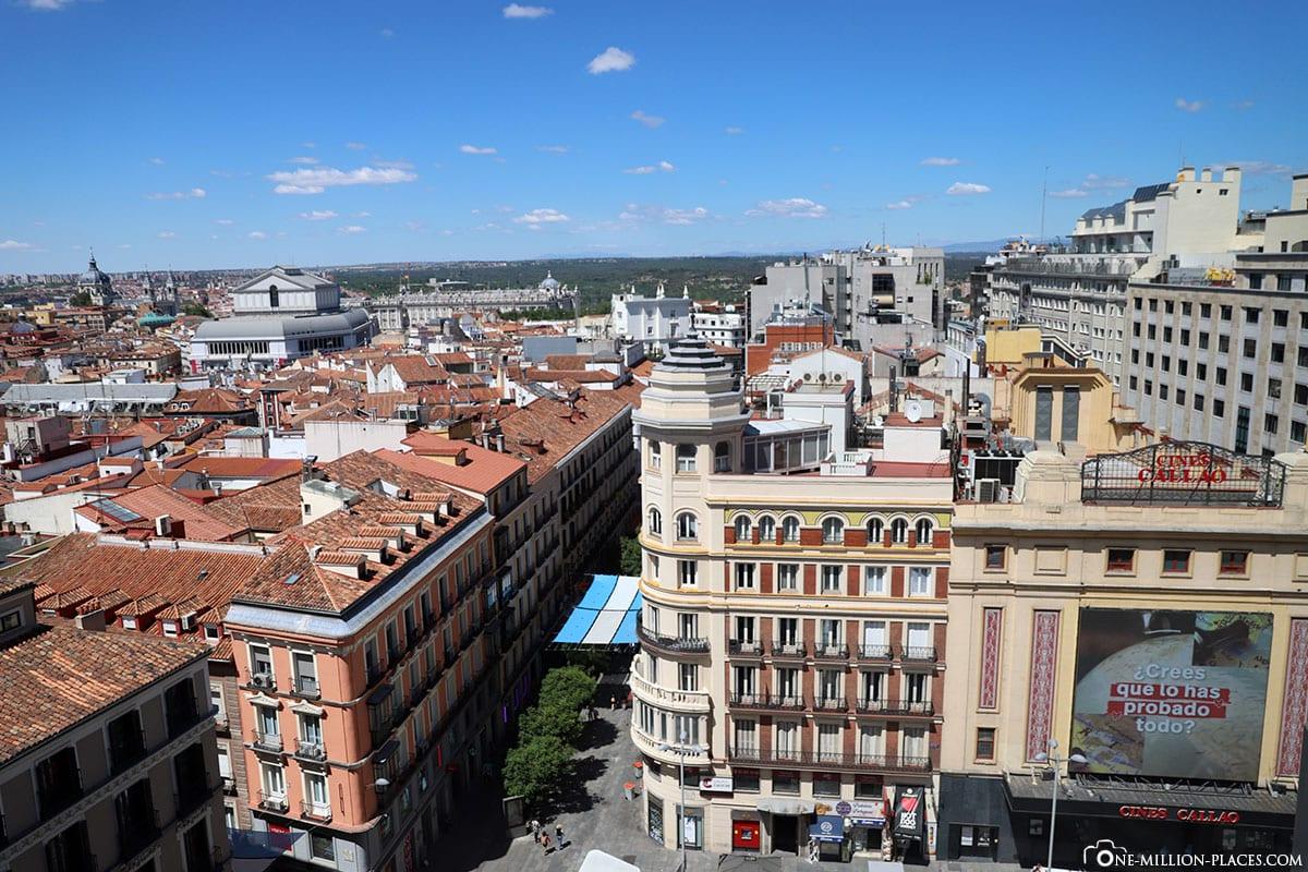 Ausblick, Gran Via, Madrid, Innenstadt, Spanien, Sehenswürdigkeiten, Fotospots, Reisebericht