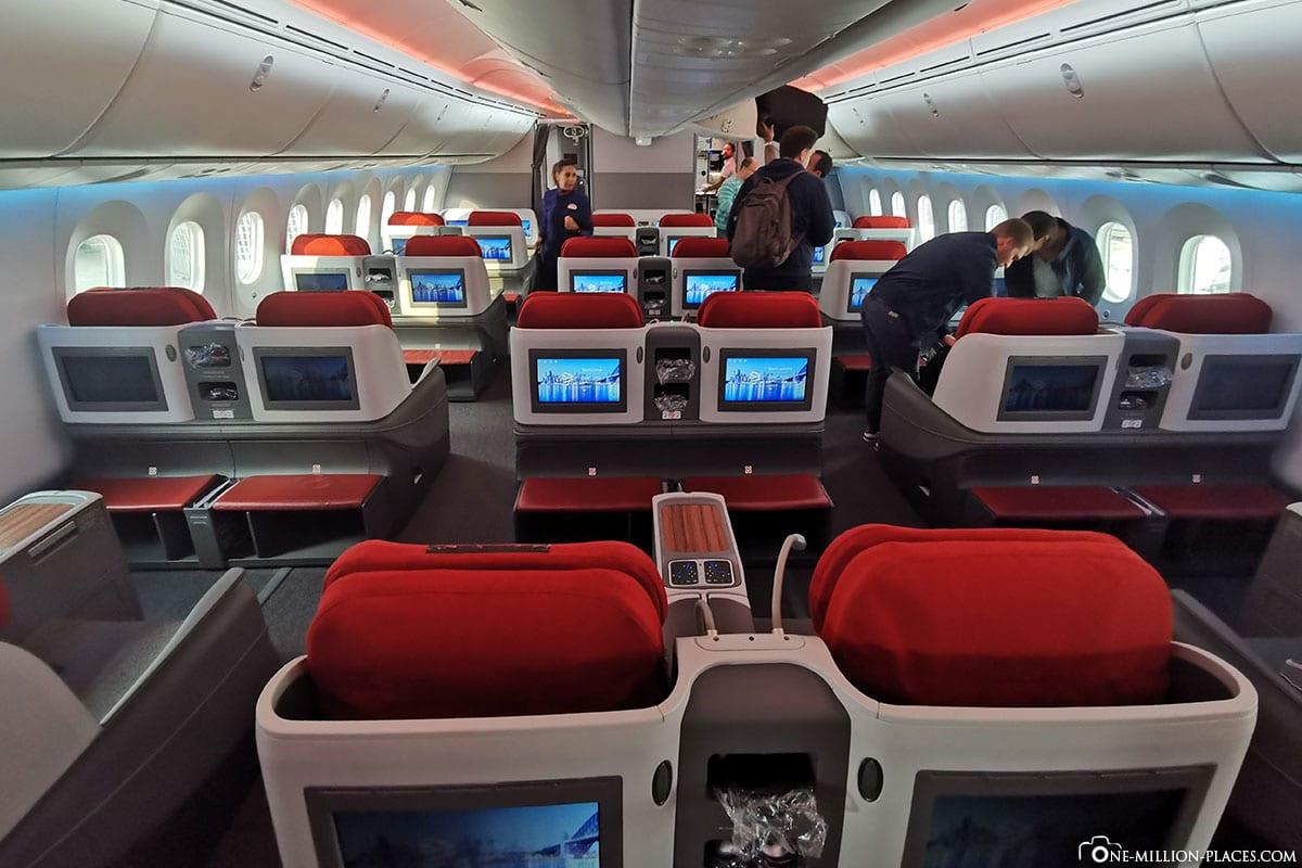 Businessklasse, LATAM, Flug LA 704, Boeing B787-900, Dreamliner