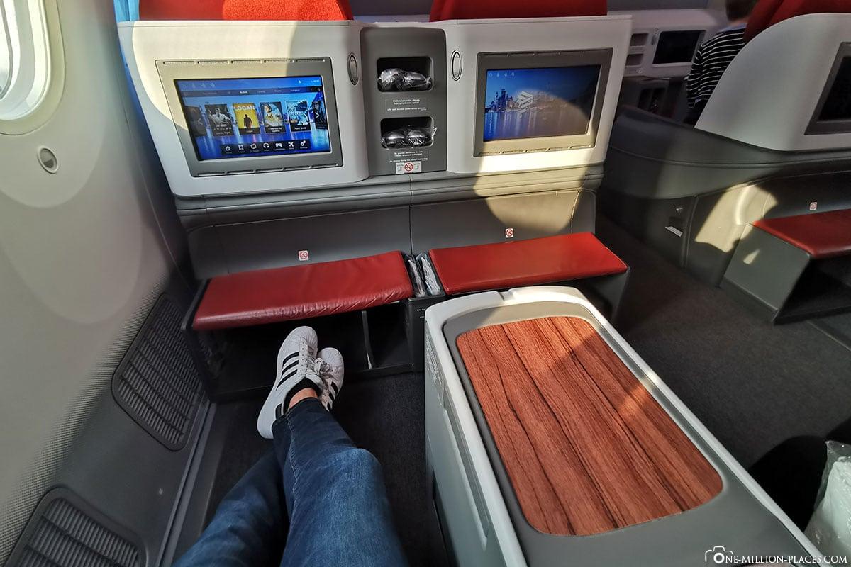 Beinfreiheit, Business Class, LATAM, Flug LA 704, Boeing B787-900, Dreamliner
