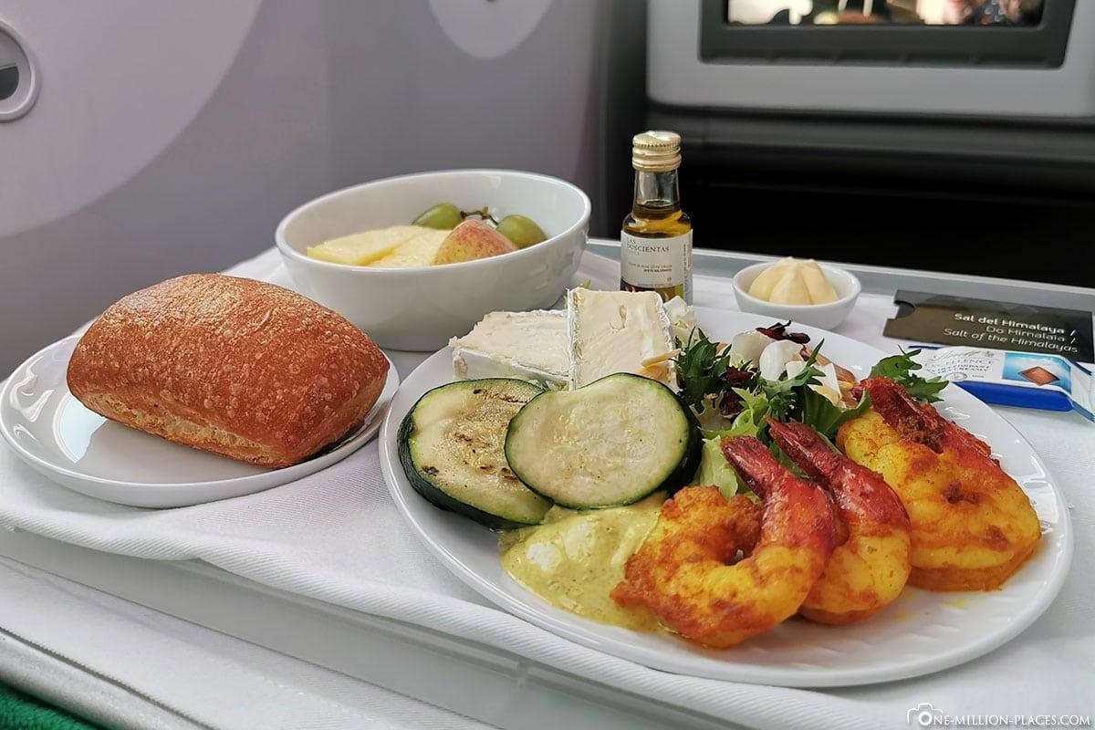 Abendessen, Business Class, LATAM, Flug LA 704, Boeing B787-900, Dreamliner