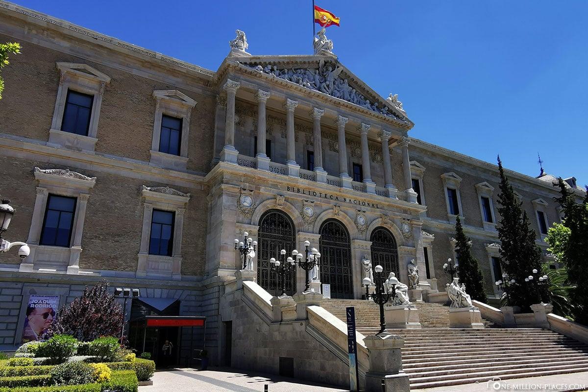 Spanische Nationalbibliothek, Madrid, Innenstadt, Spanien, Sehenswürdigkeiten, Fotospots, Reisebericht