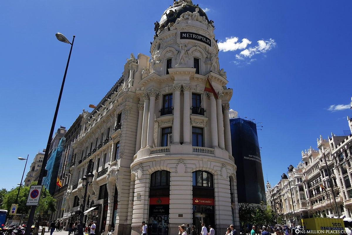 Metropolis Gebäude, Madrid, Innenstadt, Spanien, Sehenswürdigkeiten, Fotospots, Reisebericht