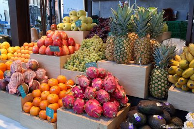 Fruit stand in the market hall