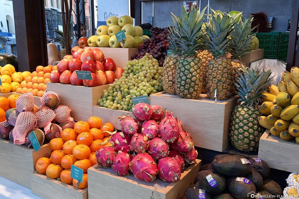 Obst, Markthalle, Mercado de San Miguel, Madrid, Spanien, Sehenswürdigkeiten, Fotospots, Reisebericht