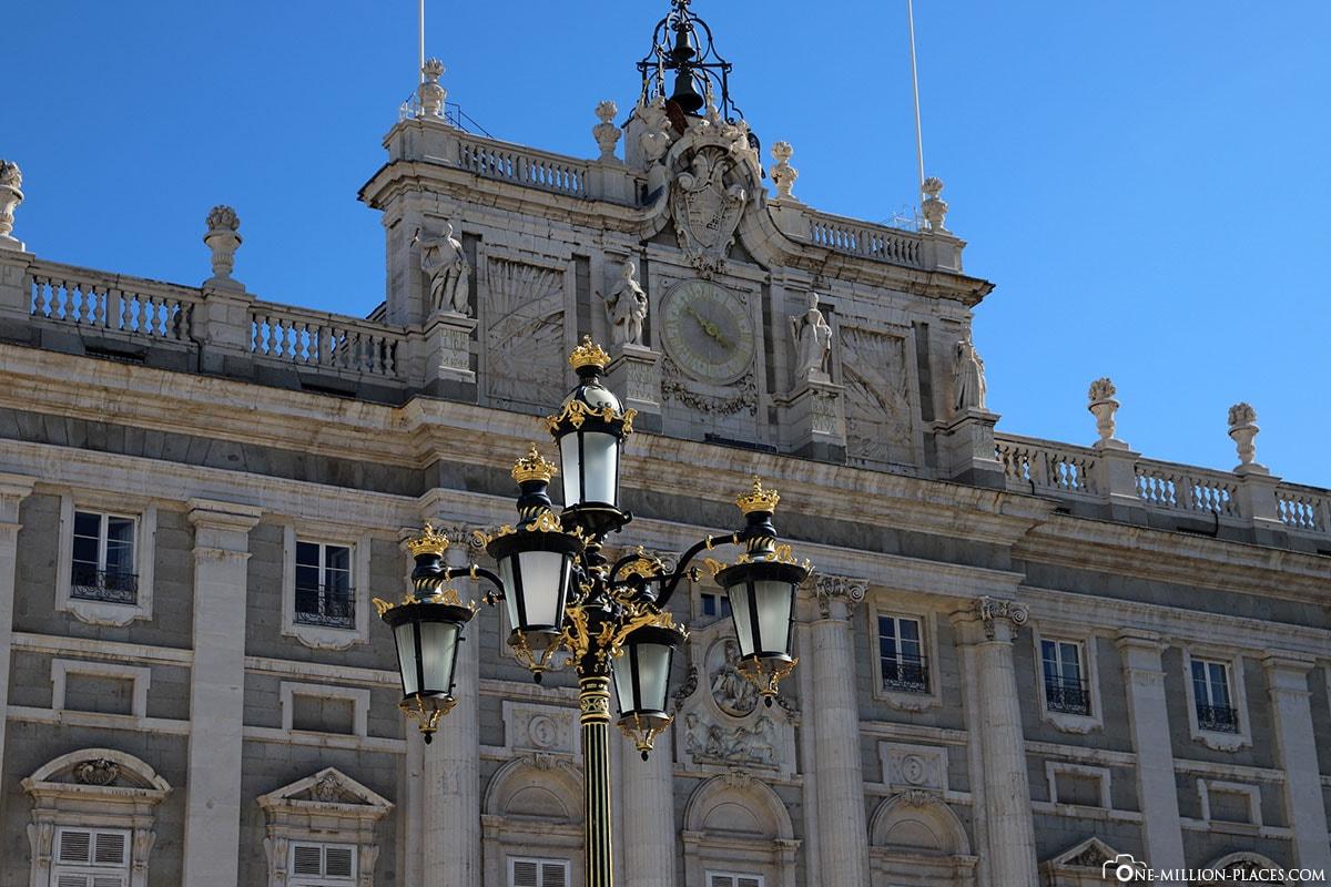 Fassade, Königliche Palast, Madrid, Sehenswürdigkeiten, Stadtrundgang, Reisebericht