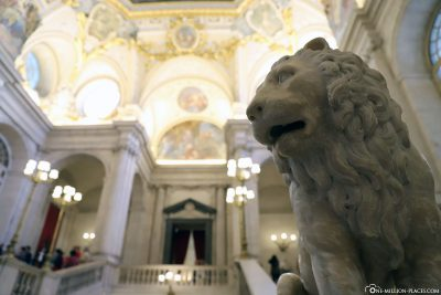 Lion statue on the grand staircase