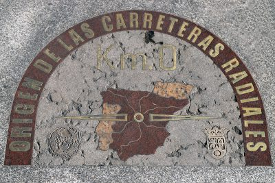 The zero-kilometre stone on the Puerta del Sol