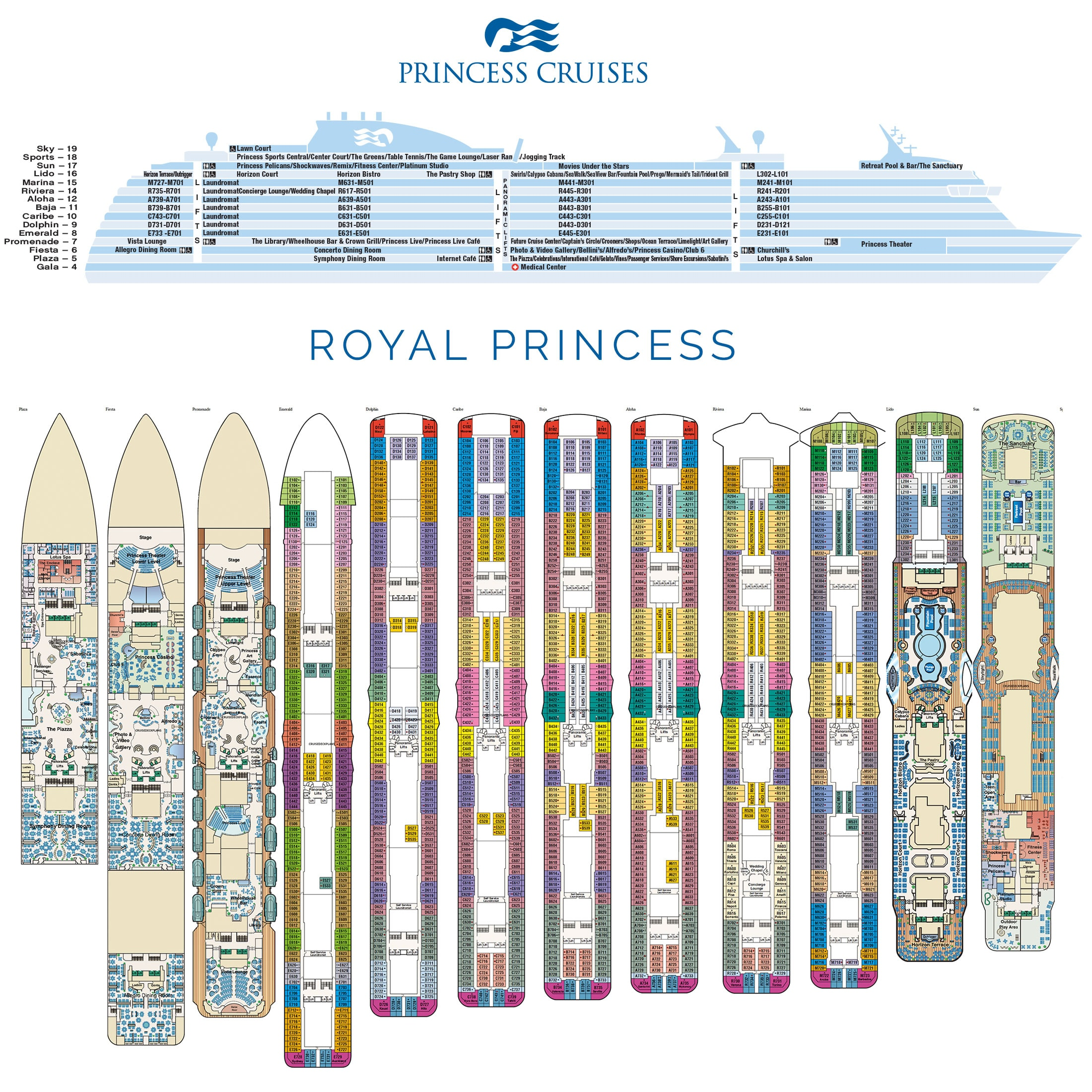 Royal Princess, Deck plan, Cabin plan, Plan, Travel Report, Cruise Ship