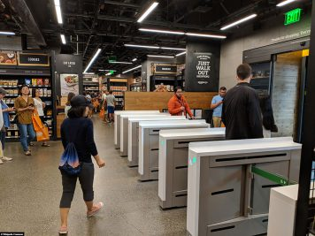 The exit at the Amazon Go store in Seattle
