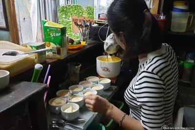 Zubereitung des Egg Coffee