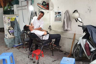 A Barber Shop in the middle of the street