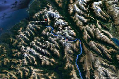 The road to Milford Sound in Google Maps