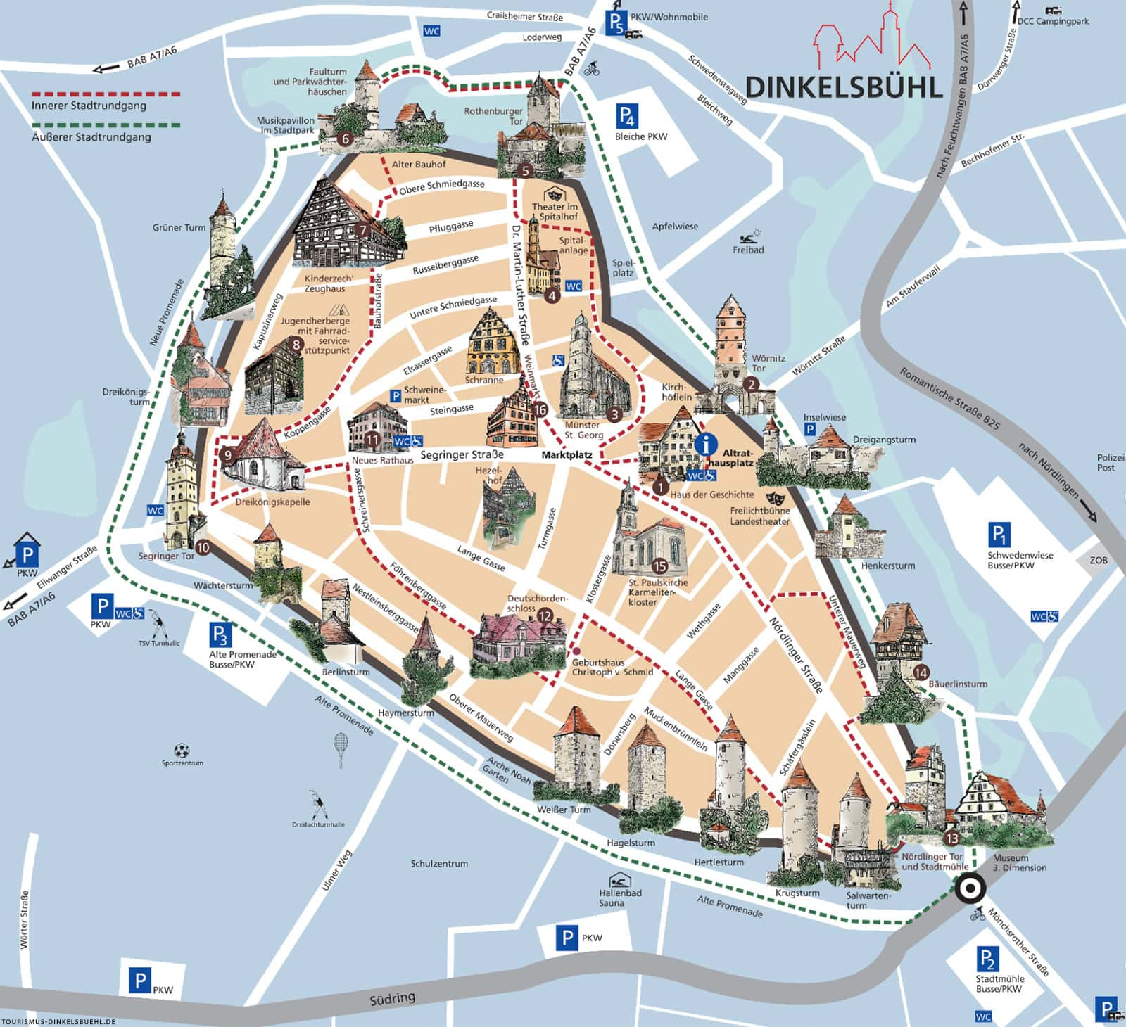 Dinkelsbühl, map, city map, attractions, download, travel report, city tour
