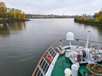 Die Mündung des Main in den Rhein