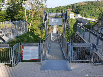 The entrance to the suspension rope bridge