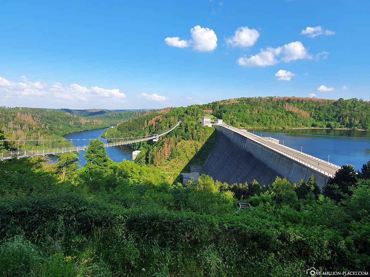 Hängeseilbrücke Titan RT, Rappode Talsperre, Längste Hängebrücke in Deutschland, Sachsen-Anhalt, Deutschland, Reisebericht