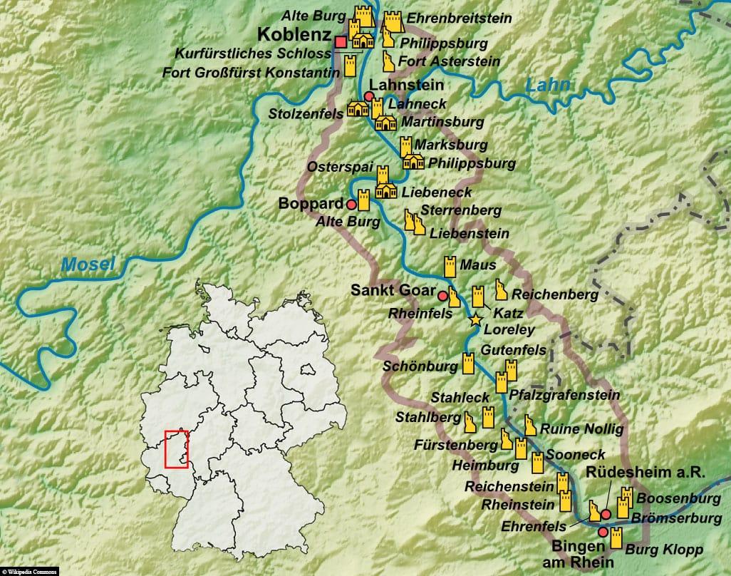 Karte, Plan, Oberes Mittelrheintal, Welterbe, UNESCO, Reisebericht, Schifffahrt